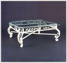 """9032  FORGED IRON TABLE SHOWN WITH OPTIONAL FLOATING BEVELED GLASS TOP FINISH SHOWN: DESERT WHITE BASE DIMENSIONS SHOWN W 37"""" L 37"""" HT 17"""""""