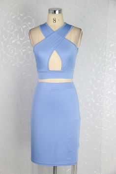 sexy summer women dress two pieces set open bust dress cut out back bandage mindi dress women clothing 4603   OK Fashion