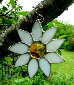 Daisies White Daisy Flowers Stained Glass by GothicGlassStudio, $35.00