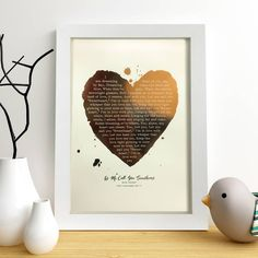 A stunning metallic heart foil print which can be fully personalised with your favourite lyrics or poem.Applied to a selection of coloured paper, these prints make a great gift for any music lover. Perfect for anniversaries and weddings for remembering the first dance and any special occasion. Just provide the song title and artist or poem details and we will find the lyrics/words for you. We will contact you should there be any problems. An optional message can be added as well to fully ...