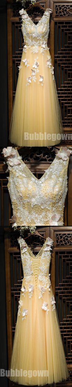 V Neck Yellow Lace Up Back Applique Formal Popular Long Prom Dresses, BGP014 #promdress