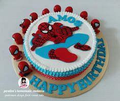 Spiderman design fresh cream cake