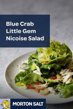 Blue Crab Little Gem Nicoise Salad recipe // Tossed with homemade lemon dijon vinaigrette using Morton® Fine Sea Salt.