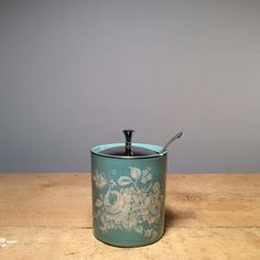 Vintage Ceramic Blue Sugar Pot  £12.00 Kitch and cute this small pot with metal lid and spoon make a delicately sweet addition to your countertop at home!  Dimensions  Height 10cm, Diameter 7cm