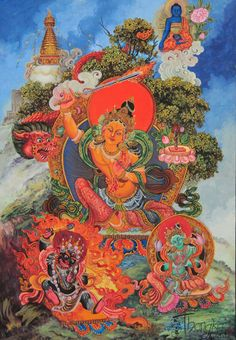 Manjushri, representing the combined wisdom (prajna) of all the Buddhas, and (said to be) the creator of the Valley of Kathmandu.