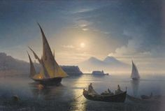 Artwork by Ivan Aivazovsky, The bay of Naples by moonlight, Made of oil on canvas, unframed