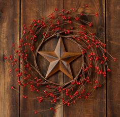 stars+and+berries+decor | Country and primitive floral decor: Berries & Rusty Star Wreath