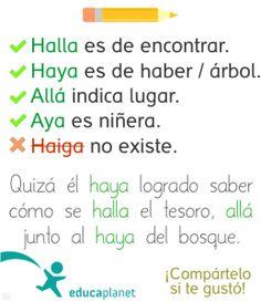 Ortografía: halla, haya, allá, aya #ortografía #lengua #educación by @evacreando desde Educaplanet #