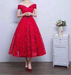 Off The Shoulder Prom Dress,Lace Prom Dress,Midi Prom