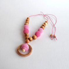 Rose Pink Nursing Necklace Natural Kids Toys New di KattyMarket