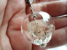 Real Dandelion Seed Glass Orb Necklace On by ViperCoraraDesigns, $20.00