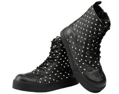 Black Out Kitty Face & Hearts Vegan Sneaker Boot | T.U.K. Shoes