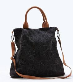 Black AEO Textured Tote