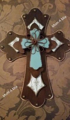 Layered Cross Stained Decoupaged Brown Aqua by MumAMia3 on Etsy #craftshout0114