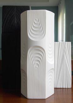 AK Kaiser Vase West German OP Art Matte White Relief 1970s Mid Century Modern Bisque Alboth & Kaiser