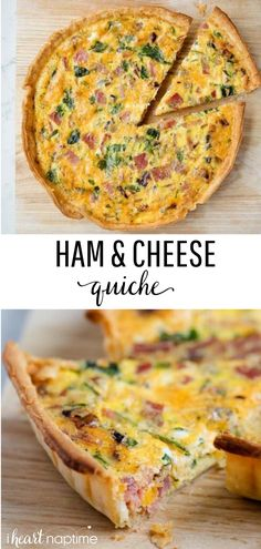 Ham and Cheese Quiche - Only takes 10 minutes to prep and is perfect for Sunday brunch or holiday mornings. Made with a pie crust base, eggs, spinach, ham and cheese in the filling. Simple, delicious and always a crowd pleaser! Ham Quiche, Spinach Quiche Recipes, Ham And Cheese Quiche, Breakfast Quiche, Spinach And Cheese, Best Breakfast, Breakfast Recipes, Dinner Recipes, Quiche Cups