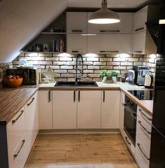 50 Cool Attic Kitchen Design Ideas,Browse 50 photos of Attic Kitchen. Find ideas and inspiration for Attic Kitchen to add to your own home. Loft Design, Küchen Design, House Design, Design Ideas, Brick Design, Design Model, Attic Apartment, Attic Rooms, Loft Kitchen