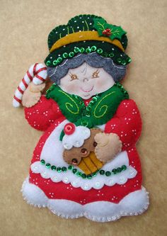 Christmas Ornaments Bucilla Christmas by on Etsy Felt Christmas Ornaments, Christmas Crafts, Christmas Decorations, Holiday Decor, Felt Crafts, Diy And Crafts, Silverware Holder, Felt Applique, Christmas Projects