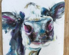 Designer Dairy watercolour cow printed COW ART Coaster by Nicola Jane Rowles made in UK Watercolor Artwork, Watercolor Animals, Watercolor Print, Cow Painting, Cow Art, Country Art, Painting Techniques, Moose Art, Art Prints