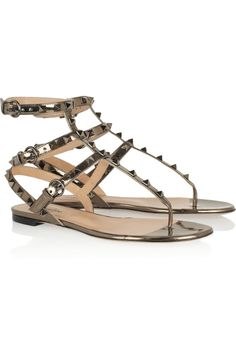 Valentino Studded metallic leather sandals [Valentino] - $187.15 : Discounted Christian Louboutin,Jimmy Choo,Valentino Shoes Online store