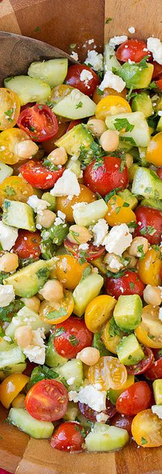 Tomato Avocado Cucumber Chick Pea Salad with Feta and Greek Lemon Dressing | LOLO❤︎
