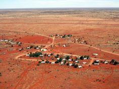 View from the air of the remote community of Kiwirrkurra in Western Australia.