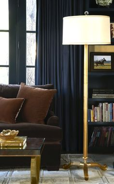 interiors, living room, sleek, rich, velvet, brown, navy, gold