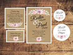 Svatební oznámení včetně zdobené obálky Place Cards, Place Card Holders, Wedding, Mariage, Weddings, Marriage, Casamento