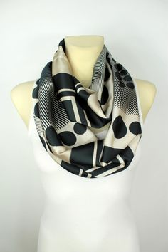 Geometric Infinity Scarf - Satin Silk Loop by LocoTrends available now on Etsy www.locotrends.etsy.com