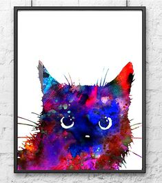 Cat art print, cat art watercolor painting print, cat illustration, children wall art, purple home decor