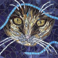 Cats in Art, Illustration, Photography and Design: cat in blue by Barb Keith Mosaic Glass, Mosaic Tiles, Glass Art, Stained Glass, Blue Mosaic, Leaded Glass, Mosaic Crafts, Mosaic Projects, Mosaic Designs