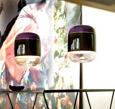 Blown glass pendant lamps by Pradina