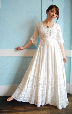 Vintage White Cotton Mexican Wedding Dress with Lots of Lace Details - Size Small/Medium Maria this looks a lot like your Moms. Indian Fashion Dresses, Boho Fashion, Fashion Outfits, Nail Fashion, Cotton Wedding Dresses, Cotton Dresses, Mexican Fashion, Kurti Designs Party Wear, Bohemian Mode