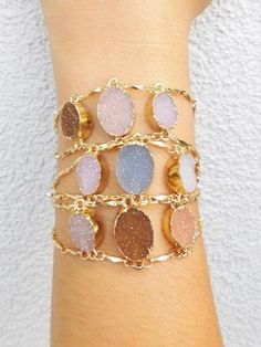 Druzy Trio Gold Bracelet - All Things Lovely Shop-Women's Clothing, Jewelry, #jewelry, #accessories #shopping -Repin if you like!