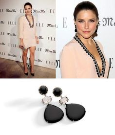 "Actress Sophia Bush wearing BRUMANI earrings from ""Nude Casual"" Collection in white vintage gold with round diamonds, black and smoky quartz to the Elle Magazine and Sarah Hyland Hosts Songbirds' 'Miss Me' Album Release Party at Sunset Marquis Hotel & Villas on August 9, 2012 in West Hollywood, California."
