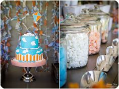 Kite themed birthday party - blue and orange