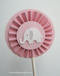 Pretty in Pink Elephant Cupcake Toppers- Elephant Baby Shower Decorations..Set of 12. $12.00, via Etsy.
