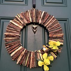 Hiking trek inspired nature wreath. Welcome, Spring!
