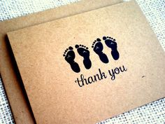 Items similar to Set of 10 Twins Thank You Cards - Cute Twin Footprints Thank You Notes - Kraft Baby Shower Twin Thank You Cards - Boy, Girl, Gender Neutral on Etsy Baby Thank You Cards, Thank You Notes, Cute Twins, Baby Footprints, New Baby Gifts, Gender Neutral, New Baby Products, Baby Shower, Handmade Gifts