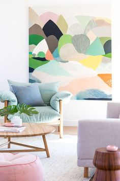 Abstract, colourful landscape canvas in living room