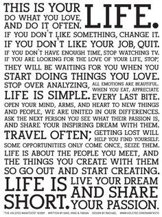 Food for thought...the Holstee Manifesto poster