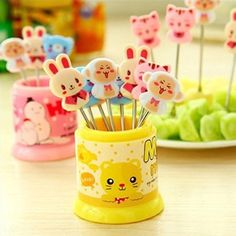 $9.90 AmazonSmile: Cute Cartoon Fruit Fork Set 8 pieces Ice-Cream Fork Stainless Steel Fruit Fork random color: Kitchen & Dining