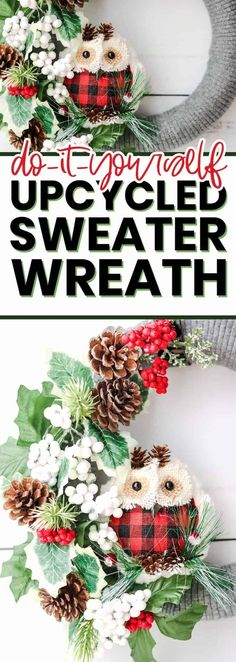 This DIY Christmas wreath is the perfect dollar tree project to make during the holidays. Super easy and simple to make and even more fun to hang on your front door! #diyproject #dollartree #DollarTreeDIY #Sweater #Upcycle #DIYWreath #WinterWreath #ChristmasWreath #DollarTreeCrafts Dollar Tree Christmas, Easy Christmas Crafts, Dollar Tree Crafts, Simple Christmas, All Things Christmas, Christmas Wreaths, Christmas Decorations, Christmas Recipes, Holiday Recipes