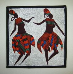At long last the patterns are here!! Authentic African silhouette art quilt patterns, created by Wendy Mamattah.    These are 12 by 12 inch blocks