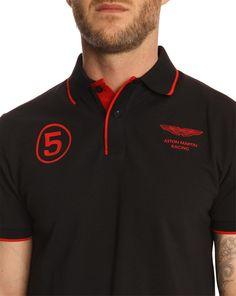 0d931c07db4 Hackett Aston Martin Racing 5 Black Polo Shirt in Black for Men