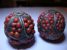 ANCIENT SILVER & CORAL BEADS