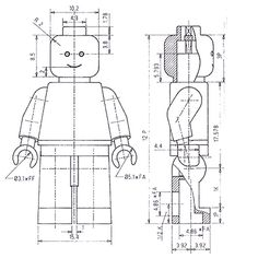 Lego Man Technical Drawing