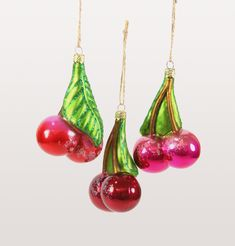 Orchard Cherry Ornaments - 3 Assorted Decorate your tree with festive cherries! The vintage style will add fun and color to any Christmas Tree Dimensions: L Sold as a set of 3 assorted ornaments Cherry Oh Baby, Cherry On The Cake, Cherry Red, Glass Christmas Tree Ornaments, Christmas Tree Decorations, Christmas Wreaths, Holiday Decor, Christmas Christmas, Christmas Ideas