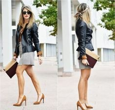My spring wish list item - Zara Black Faux Leather Zipped Biker Peplum Frill Hem Jacket