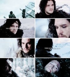 "Jon Snow: ""Forgive me, Father. Robb, Arya, Bran… forgive me, I cannot help you. He has the truth of it. This is my place."""